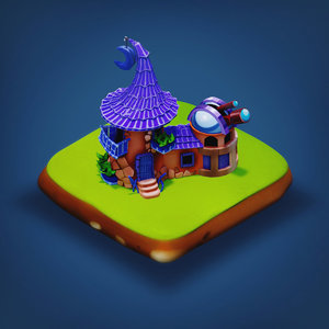 3D wizard house - rpg