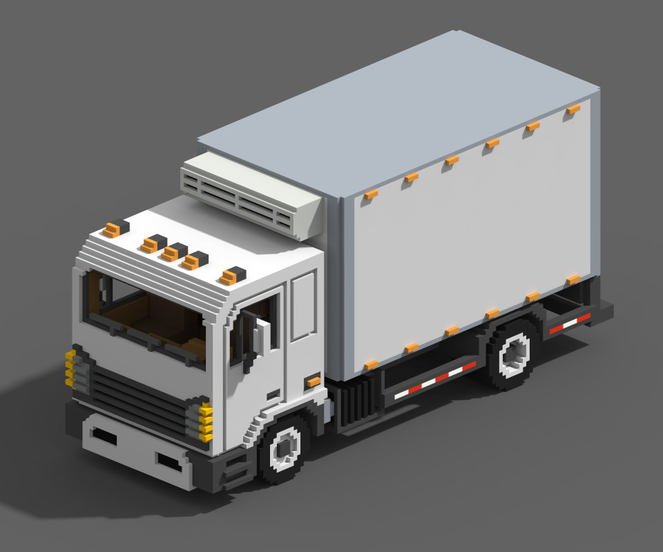 voxel refrigerated truck 3D model
