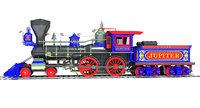 jupiter steam locomotive train 3D model