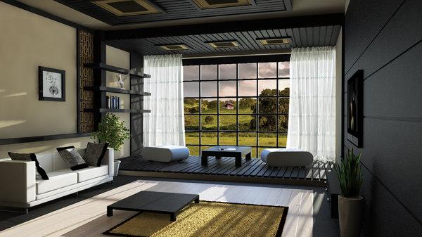Japanese Style Living Room 3d Model, Japanese Living Room