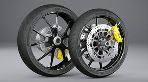 3D model motorcycle wheels