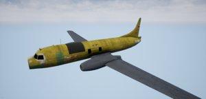 3D model crashed convair 580 plane