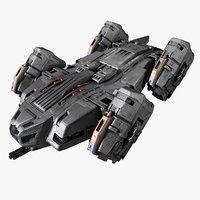 3D sf lander ship