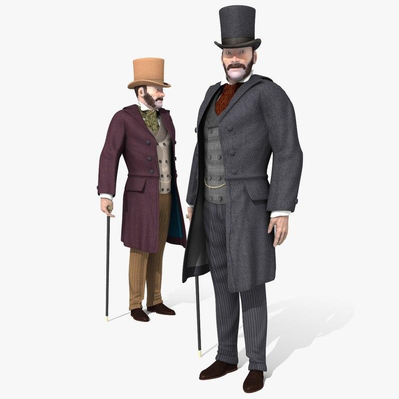 victorian gent - rigged 3D model