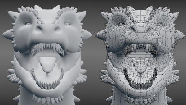 3D dragon blender model