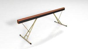 3D balance beam bar gymnastics model