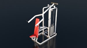 3D incline bench press gym equipment model