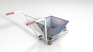 3D wheelbarrow pushcart trolley