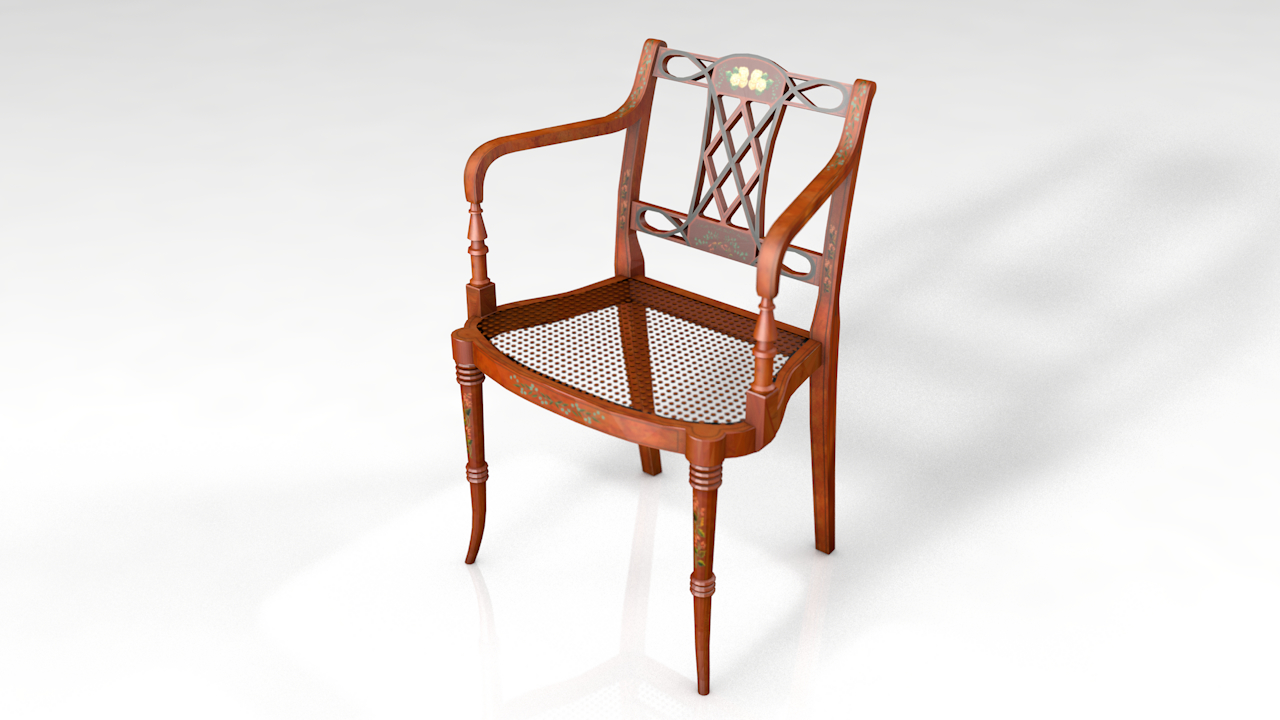 3D model wood classic elbow arm chair