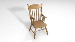 english windsor wood chair 3D model