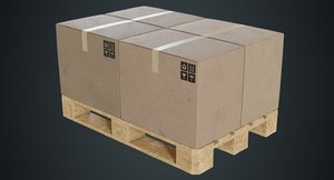 3D pallet cardboard boxes 2b
