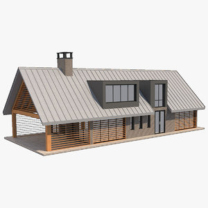 modern barn house 1 3D