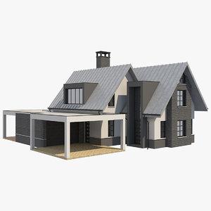 3D model modern barn house 2