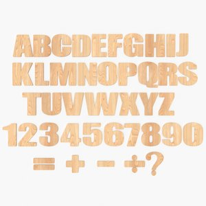 wooden alphabet 3D model