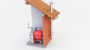 3D furnace chimney boiler