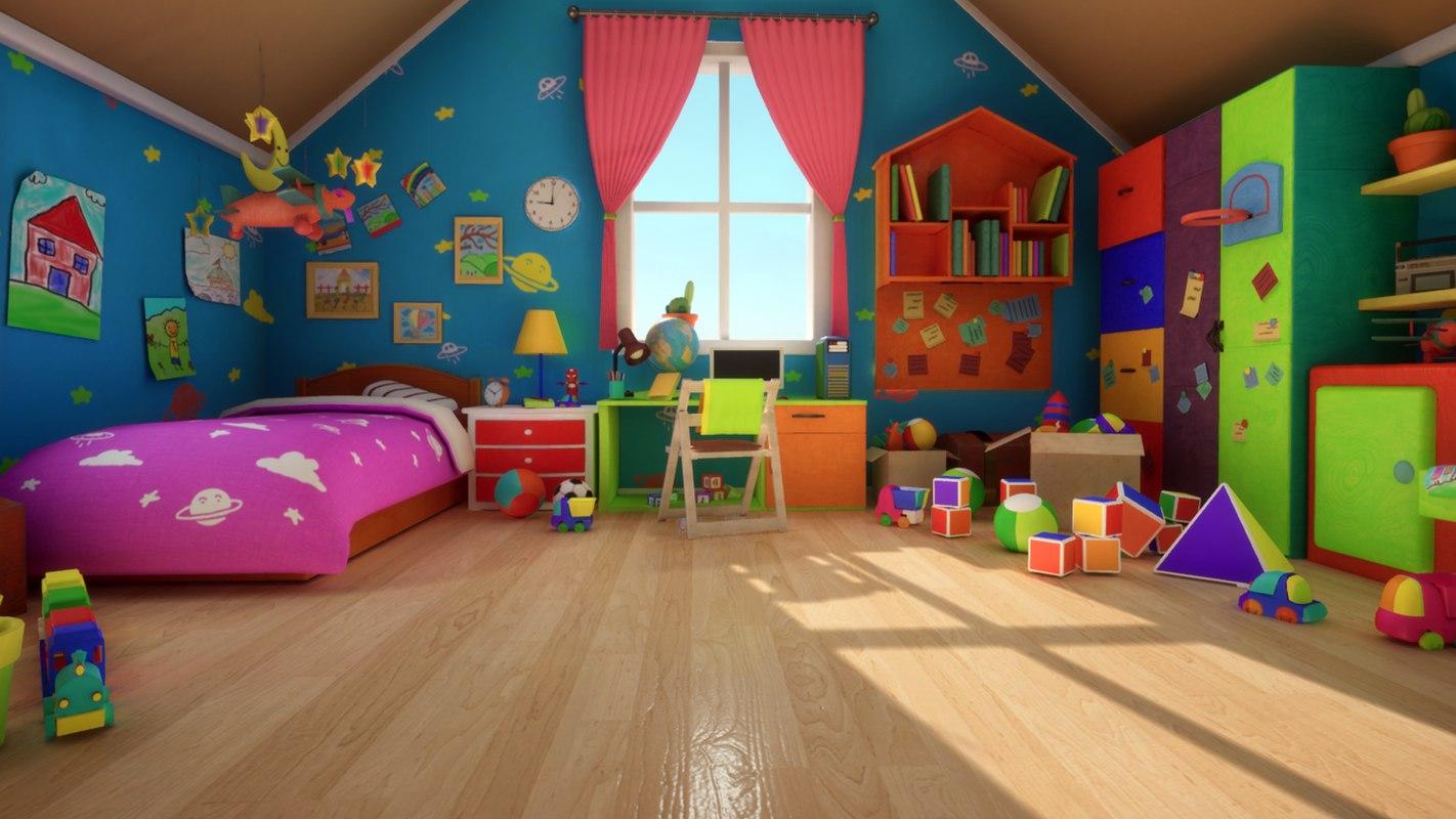 bed room cartoon - 3D model
