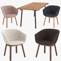3D dining table chairs host model