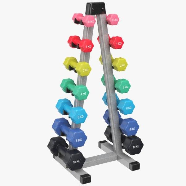 dumb bells rack dumbbells 3D model
