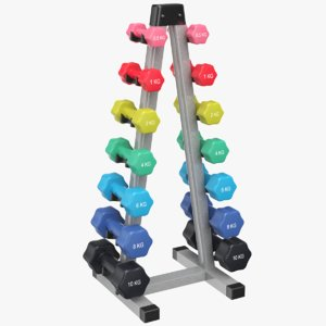 dumb bells rack dumbbells 3D model