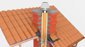 3D model chimney block brick