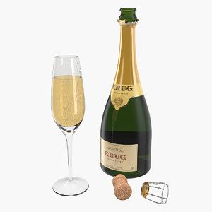 3D champagne bottle krug open
