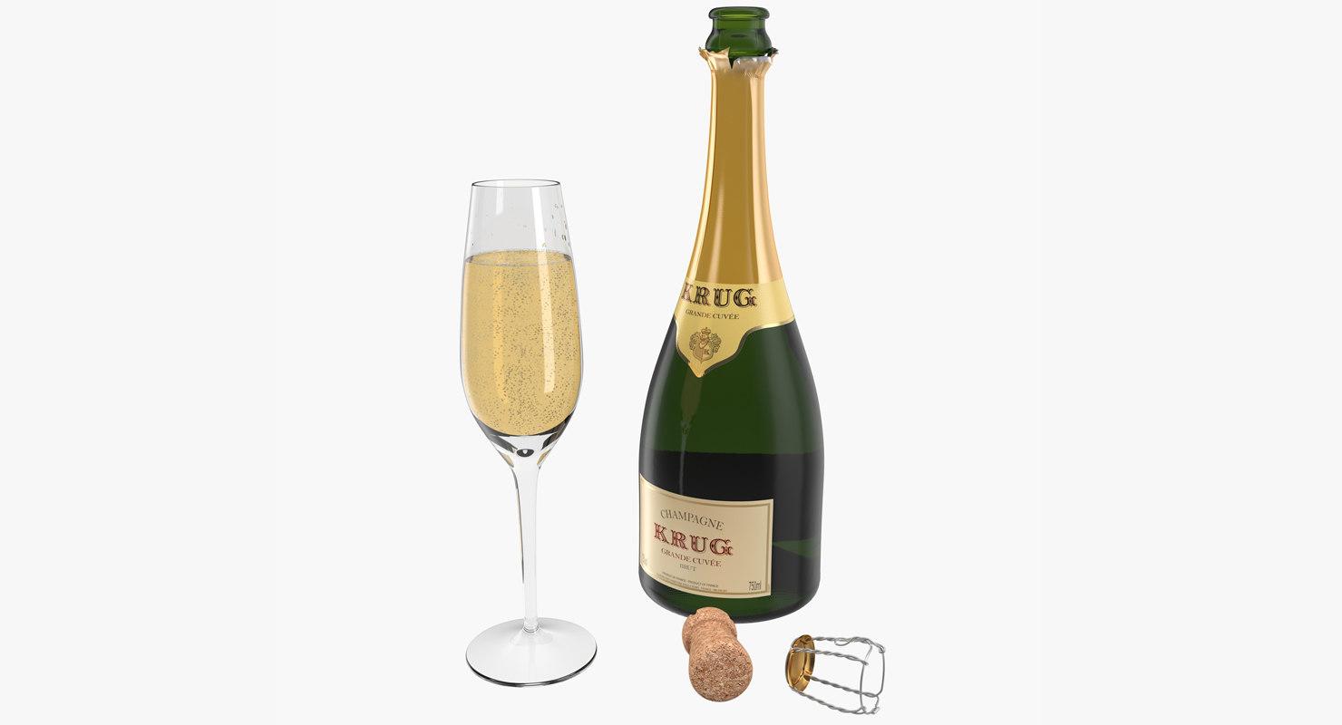 3D champagne bottle krug open
