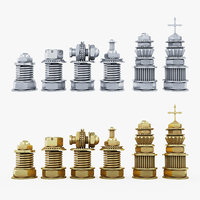 steampunk chess pieces 3D