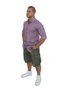 3D model scanned people man shirt