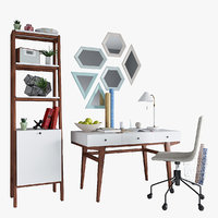 West Elm Modern Desk & Modern Narrow Tower & Slope Upholstered Office Chair