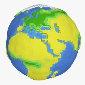 3D cartoon planet earth model