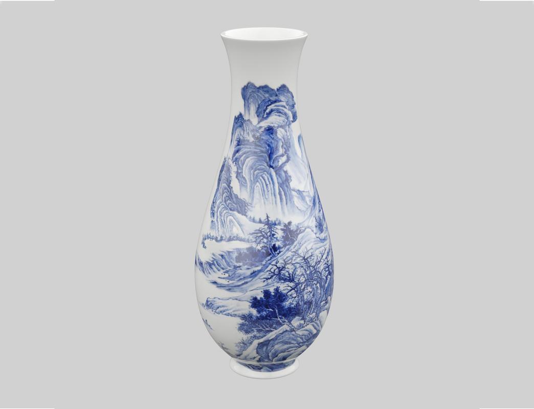 3D vase chinese blue model