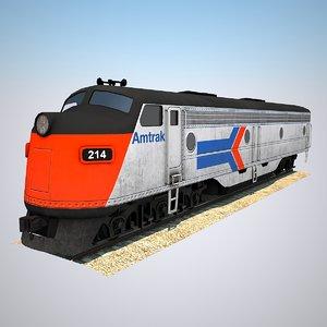 3D model diesel locomotive railroad train