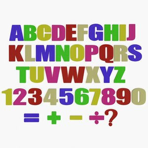 wooden colored alphabet letters 3D model