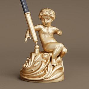 3D cherub pen holder model
