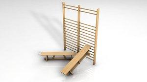 3D gymnastic swedish wall bars model