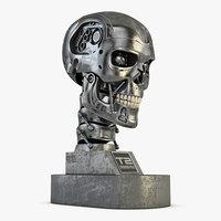 3D terminator t-800 skull bust model