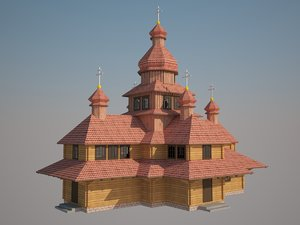 3D model church wooden
