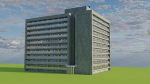 3D city appartment block