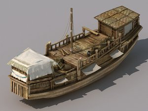 transportation - large wooden boat 3D model
