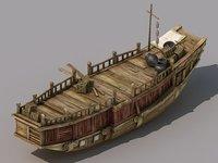 traffic - large wooden boat 3D model