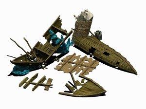 3D model submarine - shipwreck 01