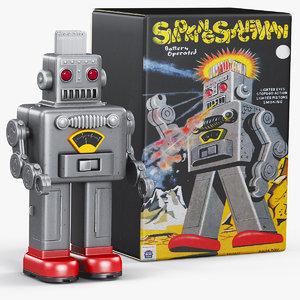 vintage robot smoking spaceman 3D
