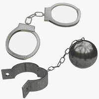 handcuffs prison ball chain 3D model