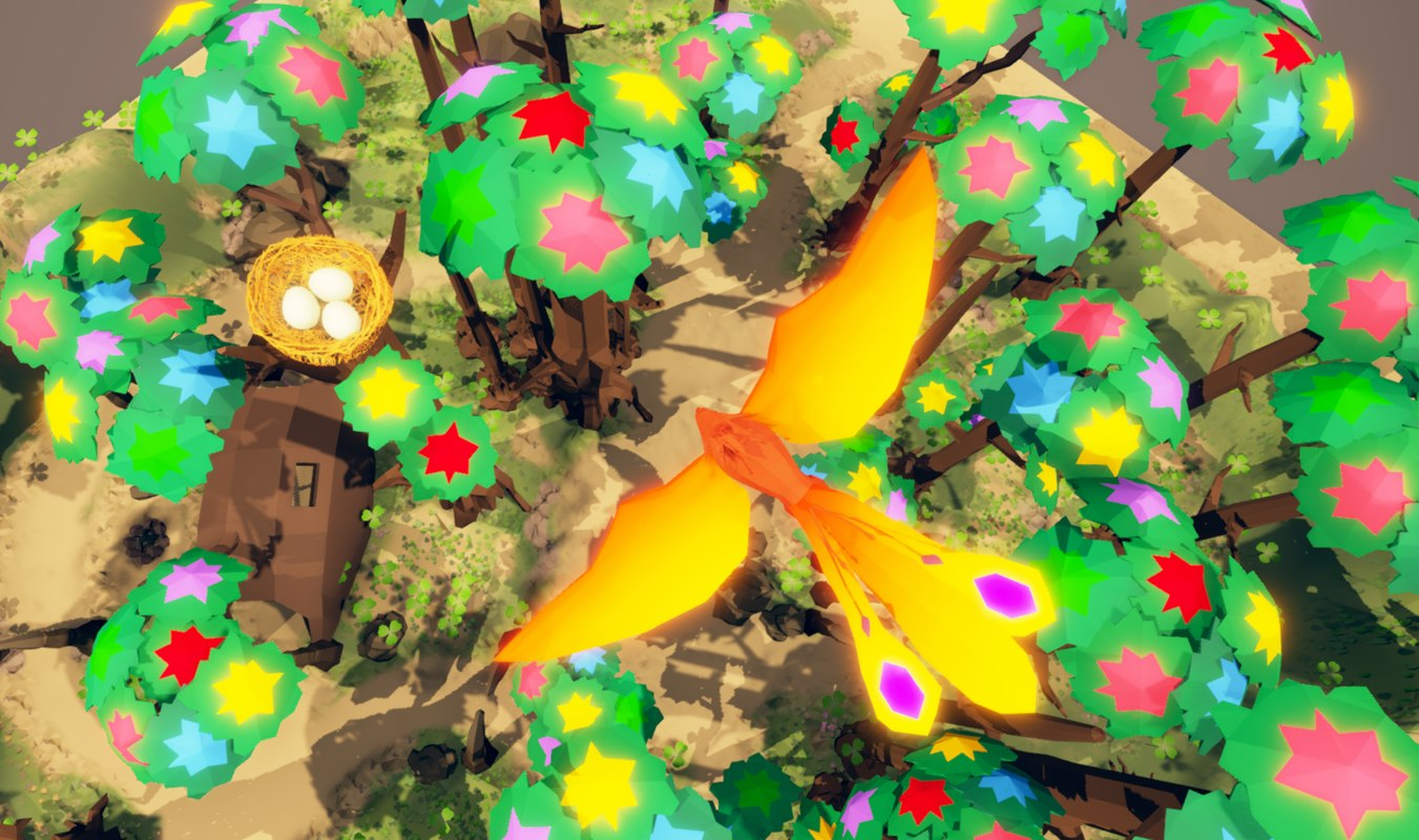 3D model fantasy phoenix forest