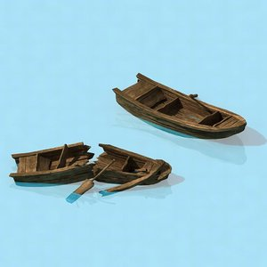 3D model traffic - small wooden boat