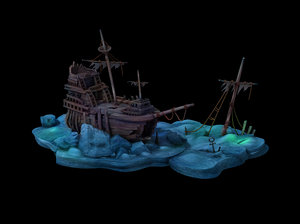 cartoon undersea city - 3D model