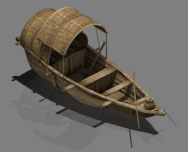 3D traffic - small wooden boat