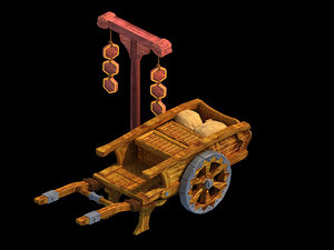 3D traffic - wooden pushcart model