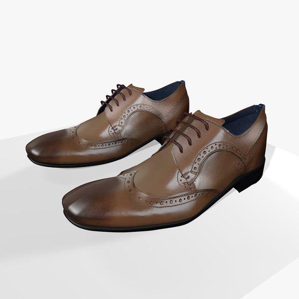 mens leather shoes 3D model
