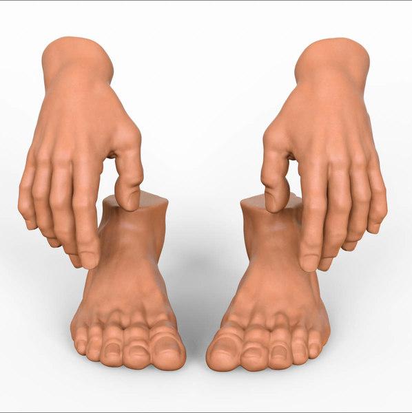 3D hand foot combo model